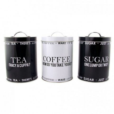 Black & White Metal Tea Coffee & Sugar Storage Tins